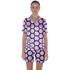 Hexagon2 White Marble & Purple Leather (r) Satin Short Sleeve Pyjamas Set