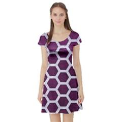 Hexagon2 White Marble & Purple Leather Short Sleeve Skater Dress