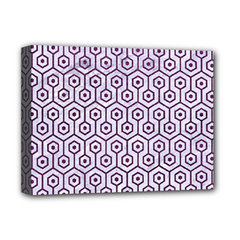 Hexagon1 White Marble & Purple Leather (r) Deluxe Canvas 16  X 12   by trendistuff