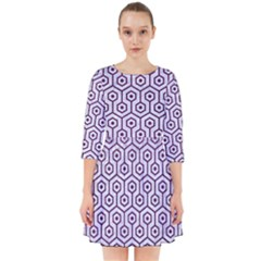 Hexagon1 White Marble & Purple Leather (r) Smock Dress