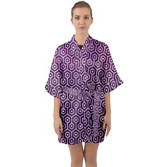 Hexagon1 White Marble & Purple Leather Quarter Sleeve Kimono Robe