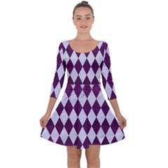 Diamond1 White Marble & Purple Leather Quarter Sleeve Skater Dress