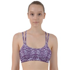 Damask2 White Marble & Purple Leather (r) Line Them Up Sports Bra