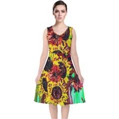 Sunflowers In Elizabeth House V Neck Midi Sleeveless Dress