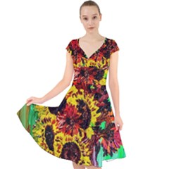 Sunflowers In Elizabeth House Cap Sleeve Front Wrap Midi Dress
