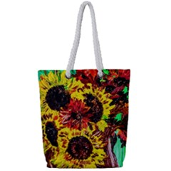 Sunflowers In Elizabeth House Full Print Rope Handle Tote (small)