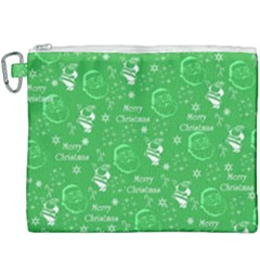Santa Christmas Collage Green Background Canvas Cosmetic Bag (xxxl)