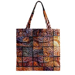 Wooden Blocks Detail Zipper Grocery Tote Bag by Sapixe
