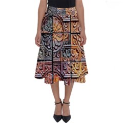 Wooden Blocks Detail Perfect Length Midi Skirt by Sapixe