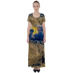 Hills Countryside Landscape Nature High Waist Short Sleeve Maxi Dress