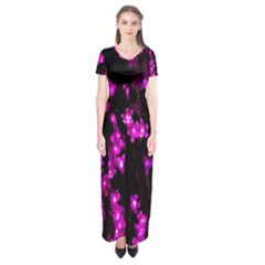 Abstract Background Purple Bright Short Sleeve Maxi Dress