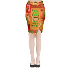 Christmas Design Seamless Pattern Midi Wrap Pencil Skirt