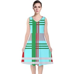 Christmas Plaid Backgrounds Plaid V Neck Midi Sleeveless Dress
