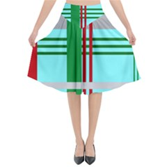 Christmas Plaid Backgrounds Plaid Flared Midi Skirt by Sapixe