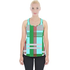 Christmas Plaid Backgrounds Plaid Piece Up Tank Top
