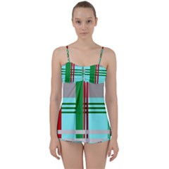 Christmas Plaid Backgrounds Plaid Babydoll Tankini Set