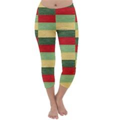 Fabric Coarse Texture Rough Red Capri Winter Leggings