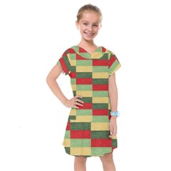 Fabric Coarse Texture Rough Red Kids  Drop Waist Dress