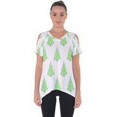 Background Christmas Christmas Tree Cut Out Side Drop Tee