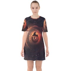 Steampunk Airship Sailing The Stars Of Deep Space Sixties Short Sleeve Mini Dress by jayaprime