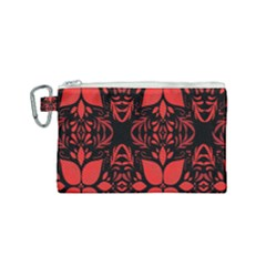 Christmas Red And Black Background Canvas Cosmetic Bag (small) by Sapixe