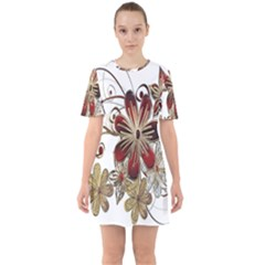 Gemstones Gems Jewelry Diamond Sixties Short Sleeve Mini Dress