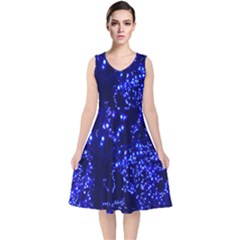 Lights Blue Tree Night Glow V Neck Midi Sleeveless Dress