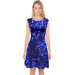 Lights Blue Tree Night Glow Capsleeve Midi Dress