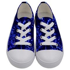 Lights Blue Tree Night Glow Kids  Low Top Canvas Sneakers