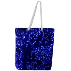 Lights Blue Tree Night Glow Full Print Rope Handle Tote (large)