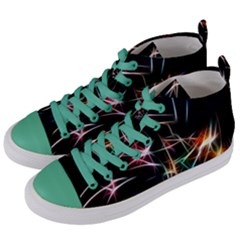 Lights Star Sky Graphic Night Women s Mid Top Canvas Sneakers by Sapixe