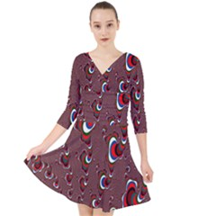 Mandelbrot Fractal Mathematics Art Quarter Sleeve Front Wrap Dress