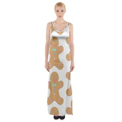 Pattern Christmas Biscuits Pastries Maxi Thigh Split Dress by Sapixe