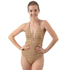 Pattern Gingerbread Brown Halter Cut Out One Piece Swimsuit