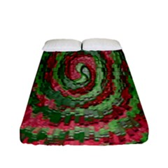 Red Green Swirl Twirl Colorful Fitted Sheet (full/ Double Size) by Sapixe