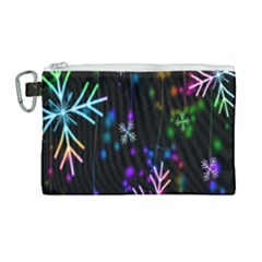 Snowflakes Snow Winter Christmas Canvas Cosmetic Bag (large)