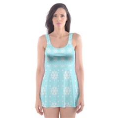 Snowflakes Paper Christmas Paper Skater Dress Swimsuit by Sapixe