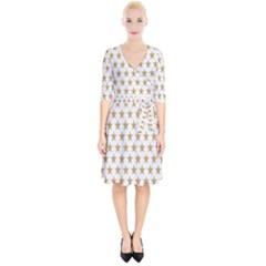Star Background Gold White Wrap Up Cocktail Dress