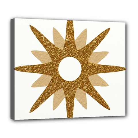 Star Golden Glittering Yellow Rays Deluxe Canvas 24  X 20