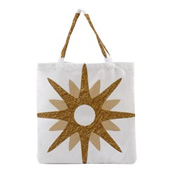 Star Golden Glittering Yellow Rays Grocery Tote Bag by Sapixe