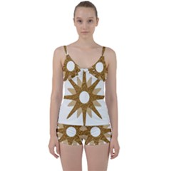 Star Golden Glittering Yellow Rays Tie Front Two Piece Tankini
