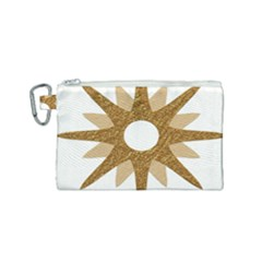 Star Golden Glittering Yellow Rays Canvas Cosmetic Bag (small)