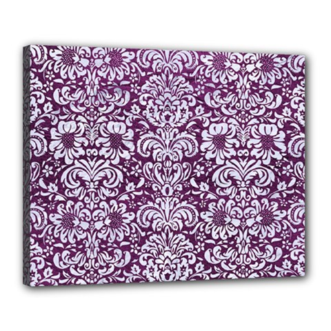 Damask2 White Marble & Purple Leather Canvas 20  X 16  by trendistuff