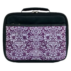 Damask2 White Marble & Purple Leather Lunch Bag