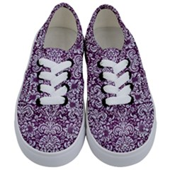 Damask2 White Marble & Purple Leather Kids  Classic Low Top Sneakers