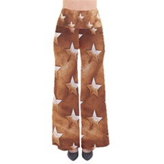 Stars Brown Background Shiny So Vintage Palazzo Pants by Sapixe