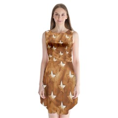 Stars Brown Background Shiny Sleeveless Chiffon Dress