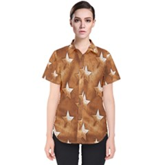 Stars Brown Background Shiny Women s Short Sleeve Shirt