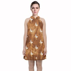 Stars Brown Background Shiny Velvet Halter Neckline Dress  by Sapixe