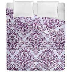 Damask1 White Marble & Purple Leather (r) Duvet Cover Double Side (california King Size) by trendistuff